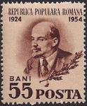Румыния 1954 год. 30 лет со дня смерти В.И. Ленина. 1 марка с наклейкой