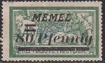 Германия Рейх (Мемель) 1922 год. НДП нового номинала (80 пфеннигов) на марке с номиналом 45 сантимов. 1 марка с наклейкой из серии
