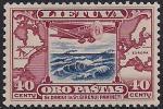 Литва 1934 год. Карта авиамаршрута Америка-Европа. Самолёт. 1 марка из серии с наклейкой (н-л 40)