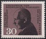 ФРГ 1967 год. 100 лет первой клинике для больных эпилепсией. Основатель клиники Ф. Бодельшвинг. 1 марка
