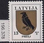 Латвия 2010 год. Стандарт. Гербы. 1 марка (196.378)