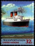 ООН Нью-Йорк 1997 год. Пассажирский трансокеанский теплоход. 1 марка из серии (ном. 32)