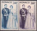Монако 1959 год. Корролевская чета княжества Монако. 2 марки