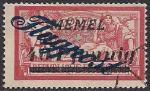 Германия Рейх (Мемель) 1922 год. Авиапочта. НДП нового номинала (40 пфеннигов) на марке с номиналом 40 сантимов. 1 марка с наклейкой из серии
