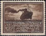 """Австрия 1933 год. Непочтовая марка. Международная выставка почтовых знаков  """"Vipa-1933"""" в Вене. Пароход. 1 марка"""