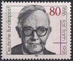 ФРГ 1986 год. 100 лет со дня рождения теолога Карла Барта. 1 марка
