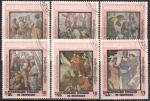 Кампучия (Камбоджа) 1989 год. 500 лет со дня рождения Рафаэля. 6 гашеных марок