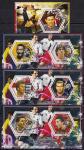 Чад 2014 год. Известные футболисты. 3 гашеных малых листа + блок
