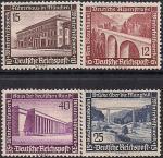 Германия. Рейх 1936 год. Строительство в зимний период. 4 марки с наклейкой из серии