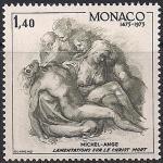 Монако 1975 год. 500 лет со дня рождения скульптора и художника Микельанджело Буонарроти. Графика. 1 марка