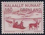 """Гренландия (Дания) 1981 год. Ж. Крейцман """"Поездка на санях на север Канады"""". 1 марка"""