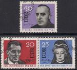 ГДР 1964 год. Нобелевские лауреаты. 3 гашёные марки. Спецгашение