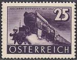 Австрия 1937 год. 100 лет австрийскому паровозу. 1 марка с наклейкой из серии (номинал 25)