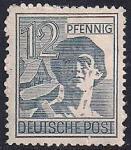 Союзная Оккупационная зона (Германия) 1947 год. Рабочий с молотом (12). 1 марка из серии