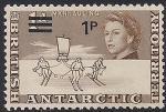 Британские Антарктические территории 1971 год. Исследование Антарктики. Буер, лыжники. Надпечатка нового номинала. 1 марка из серии (ном. 1)
