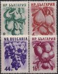 Болгария 1956 год. Айва, груши, яблоки, виноград. 4 марки с наклейками