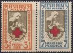 Эстония 1921 год. Красный Крест. 2 марки с наклейкой