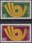 ФРГ 1973 год. Европа СЕПТ. Стилизованный почтовый рожок. 2 марки