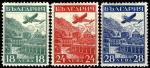 """Болгария 1932 год. Международная выставка воздушной почты в Страсбурге. Самолет """"Юнкерс Г31"""". 3 марки с наклейкой"""