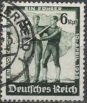 Рейх 1938 год. Референдум в Австрии. Австрийский и немецкий рабочие со знаменем. 1 гашеная марка