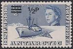 Британские антарктические территории 1971 год. Исследование Антарктики. Ледокол. 1 марка из серии с надпечаткой номинала (н-л 1/2)
