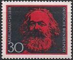 ФРГ 1968 год. 150 лет со дня рождения Карла Маркса. 1 марка
