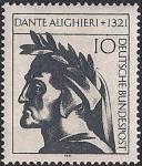 ФРГ 1971 год. 650 лет со дня смерти писателя и учёного Д. Алигьери. 1 марка
