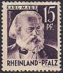 Рейнланд-Пфальц (Германия) 1947 год. Карл Маркс. 1 марка с наклейкой