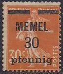 Германия Рейх (Мемель) 1922 год. НДП нового номинала (30 пфеннигов) на марке с номиналом 30 сантимов. 1 марка с наклейкой  из серии