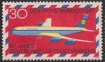 ФРГ 1969 год. 50 лет авиапочте Германии (ном. 30). 1 марка из серии
