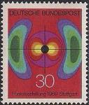 ФРГ 1969 год. Национальная радиовыставка в Штутгарде. Символическое изображение электромагнитного поля.1 марка