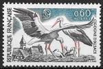 Франция 1973 г., Охрана природы, птицы, белый аист, 1 марка