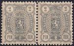 Русская Финляндия 1889-1892 год. Марка 2 пенни. Сцепка 2 марки