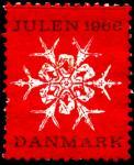 Дания 1966 год. Непочтовая рождественская марка. Снежинка