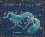 Дания 1967 год. Благотворительная рождественская марка. Лисица на фоне звёздного неба. 1 марка