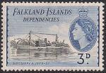 """Фолклендские острова 1954 год. Флот в истории освоения Антарктики. Корабль """"Дискавери-II"""". 1 марка из серии (н--л 3)"""