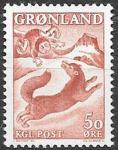 Гренландия 1966 год. Собака и мальчик, 1 марка