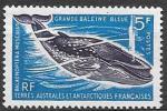Французские Антарктические территории 1966 год. Стандарт, голубой кит, 1 марка