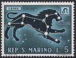 Сан-Марино 1970 год. Знаки Зодиака. Лев. 1 марка из серии (ном 5)
