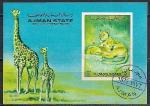 Аджман 1972 год. Африканская фауна. Гашеный блок