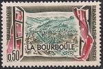 Франция 1960 год. Вид из окна на ландшафт в Бурбуле. 1 марка с наклейкой