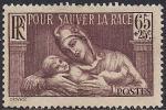 Франция 1937 год. Общество защиты здоровья (ном. 65). 1 марка с наклейкой