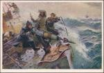 Открытка 1955 год. Соцреализм. Охотники за китами. худ. Фролов.