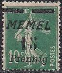 Германия Рейх (Мемель) 1922 год. НДП нового номинала (15 пфеннигов) на марке с номиналом 10 сантимов. 1 марка с наклейкой из серии