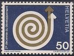 Швейцария 1971 год. Филвыставка в Базеле. Спираль. 1 марка из серии (ном. 50)