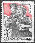 ЧССР 1963 год. Фестиваль молодежи ЧССР. Девушка и мужчина с флагом. 1 марка