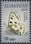 """Азербайджан 2010 год. Дневная бабочка """"Аполлон"""" (010.377). 1 марка"""