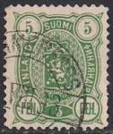 Русская Финляндия 1889-92 год. Герб. 5 пенни (зеленая). 1 гашеная марка из серии