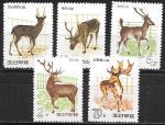 КНДР 1966 год. Лесные животные, 5 марок