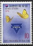 Южная Корея 1972 год. 50 лет ассоциации женщин Кореи, бабочки, 1 марка